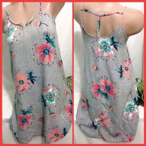 SO Gray Floral Tunic Tank Top XS